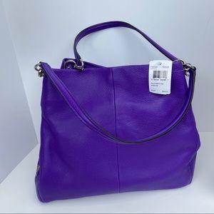 Coach Purple Pebbled Leather Phoebe Shoulder bag
